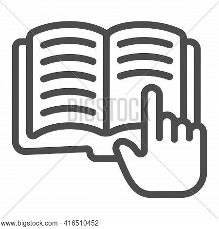 Hand With Forefinger On Book Line Icon, Children Book Day Concept, Open Book Vector Sign On White Ba