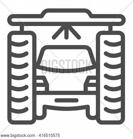 Process Of Washing Car In Tunnel Car Wash Line Icon, Car Washing Concept, Vehicle Pressure Wash Blas