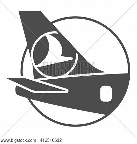 Airplane Tail Logo Solid Icon, Airlines Concept, Tail With Logo Of Arlines Vector Sign On White Back