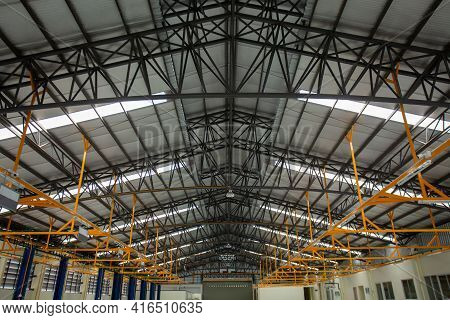 Steel Roof Frame, Car Repair Service Center, The Interior Of A Big Industrial Building Or Factory Wi