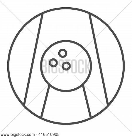 Bowling Ball On Lane Thin Line Icon, Bowling Concept, Bowling Game Sign On White Background, Ball On