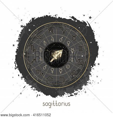 Vector Illustration With Horoscope Circle, Pictograms Astrology Planets, Zodiac Signs And Constellat