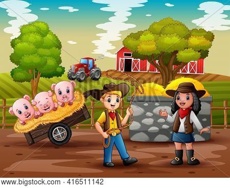 Cartoon Illustration Of Cowboy And Cowgirl In The Farm