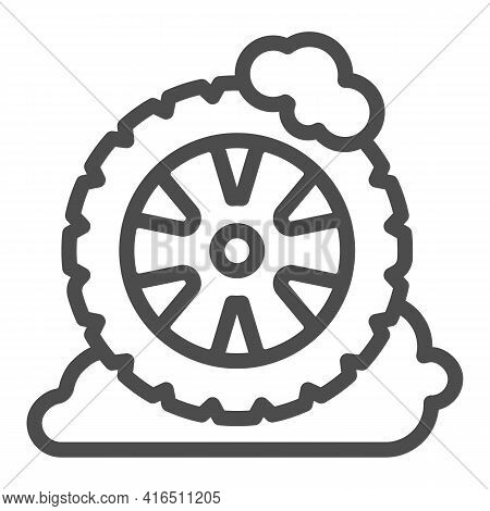 Wheel With Tire In Foam Line Icon, Car Washing Concept, Car Cleaning Service Symbol On White Backgro