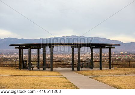 West Bluff Park In Albuquerque, New Mexico, With Scenic View To The City And Sandia Mountain