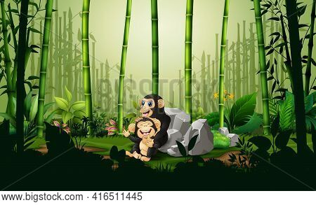Cartoon A Chimpanzee With Her Cub In Bamboo Forest