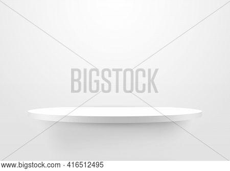 3d Empty White Shelf On Clean Wallpaper Background. Minimal Mockup Design For Product Design Present