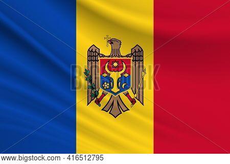 Flag Of Moldova. Fabric Texture Of The Flag Of Moldova.