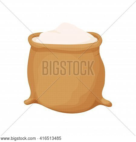 Bag Of Flour In Cartoon Style Isolated On White Background. Heap Of Flour. Design Element. Bread And