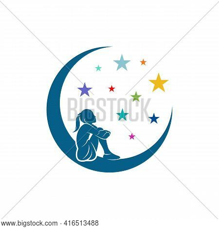 Kids Dream Logo Design Vector Illustration, Creative Dream Kids Logo Design Concept Template, Symbol