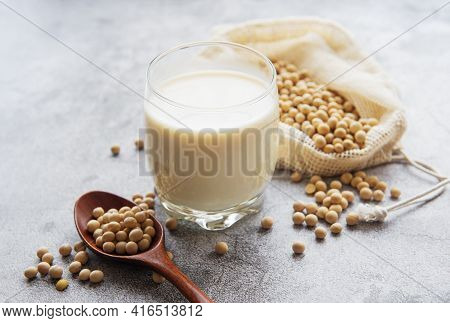 Soy Milk And Soy On The Table - Healthy Plant Product