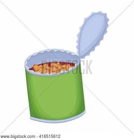 Beans Vector Cartoon Icon. Vector Illustration Can Of Bean On White Background. Isolated Cartoon Ill