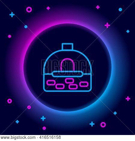 Glowing Neon Line Brick Stove Icon Isolated On Black Background. Brick Fireplace, Masonry Stove, Sto