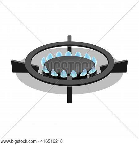 Stove Burner Vector Cartoon Icon. Vector Illustration Burning Gas On White Background. Isolated Cart
