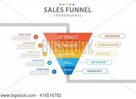Infographic Template For Business. 5 Level Modern Sales Funnel Diagram, Presentation Vector Infograp