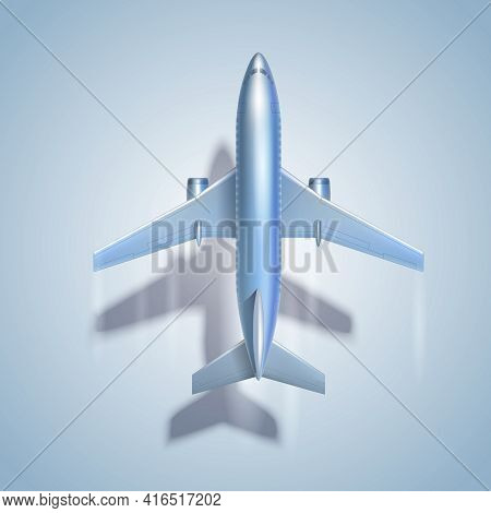 Flying Airplane Symbol With Shadow Vector Illustration