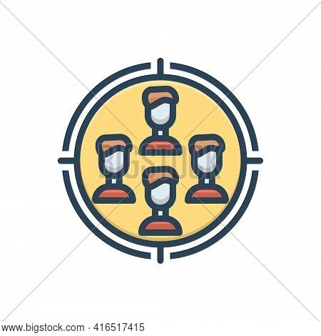 Color Illustration Icon For Target-audience Target Audience Checklist Optimization Focus