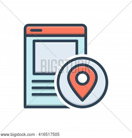 Color Illustration Icon For Local-seo Local Seo Navigation Pointer Technology Strategy