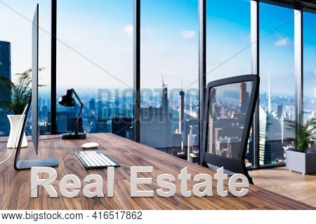 Trading; Office Chair In Front Of Workspace With Computer And Skyline View; Real Estate Concept; 3d