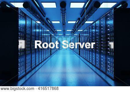 Rootserver Logo In Large Data Center With Multiple Rows Of Network Internet Server Racks, 3d Illustr