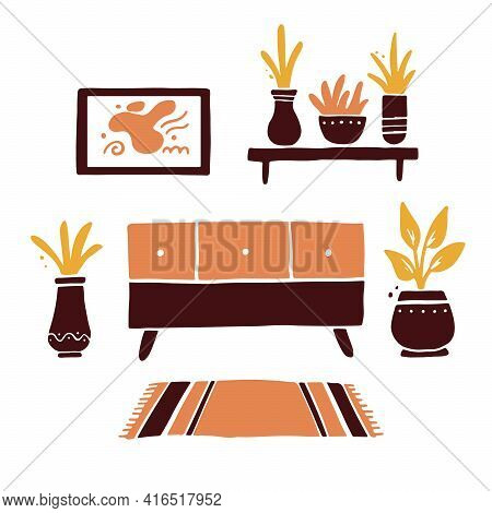 Illustration Of Living Room With Furniture, Chest Of Drawers, House Plant, Shelf, Carpet. Simple Tre