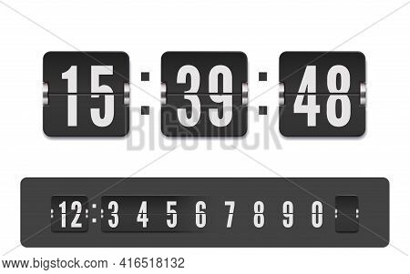 Scoreboard Number Font. Vector Modern Ui Design Of Retro Time Meter With Numbers. Old Design Score B