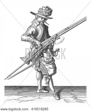 Soldier Correctly Positioning and Shaping the Wick on the Cock of His Musket, vintage engraving.
