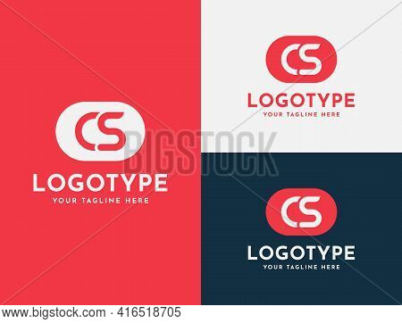Letter Cs, Os, O S, C S Logo Design In Red And Blue Colors. Creative Modern Initials Vector Icon Log