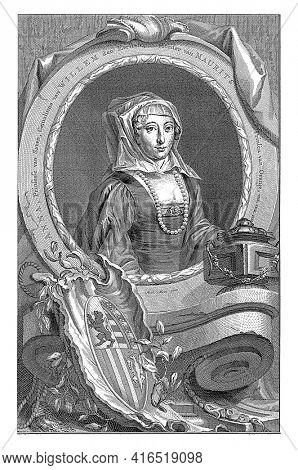 Portrait of Anna van Saksen, vintage engraving.