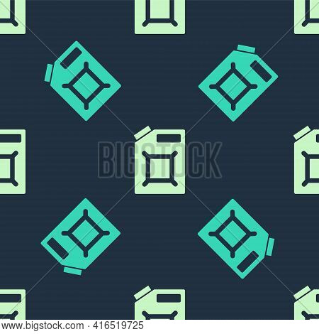 Green And Beige Canister For Gasoline Icon Isolated Seamless Pattern On Blue Background. Diesel Gas