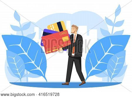 Banking, A Man Holding Bank Credit Cards In His Hands. Bank Card. Vector Illustration. Vector.