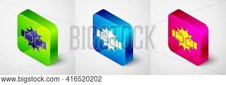 Isometric Punch In Boxing Gloves Icon Isolated On Grey Background. Boxing Gloves Hitting Together Wi
