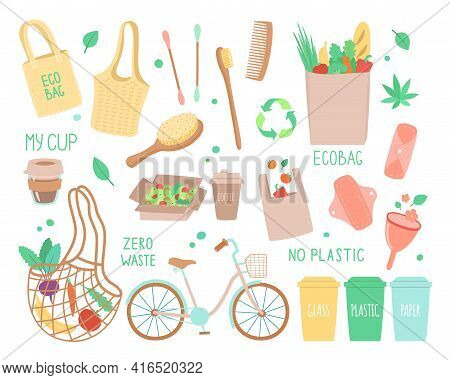 Vector Set Of Objects On The Topic Of Ecology, Zero Waste Durable And Reusable Items Or Products - E