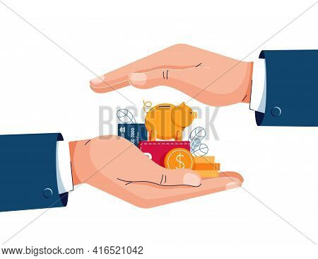 Savings Protection Vector Illustration. Insurance Agent Is Holding Hands Over The Money To Protect W