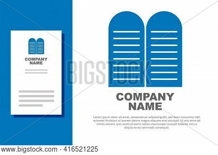 Blue The Commandments Icon Isolated On White Background. Gods Law Concept. Logo Design Template Elem