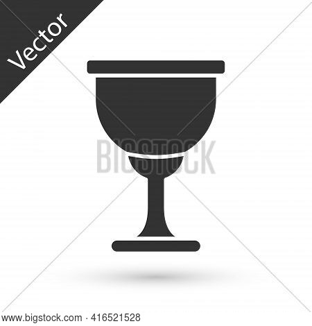 Grey Holy Grail Or Chalice Icon Isolated On White Background. Christian Chalice. Christianity Icon.