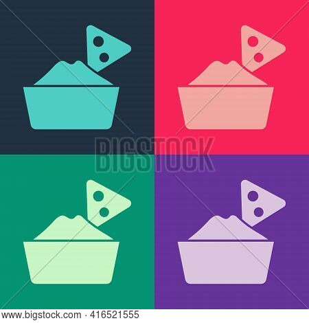 Pop Art Nachos In Bowl Icon Isolated On Color Background. Tortilla Chips Or Nachos Tortillas. Tradit