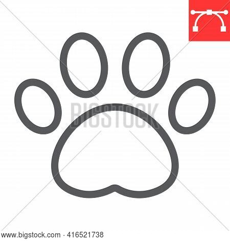 Paw Print Line Icon, Pet And Foot, Dog Paw Footprint Vector Icon, Vector Graphics, Editable Stroke O