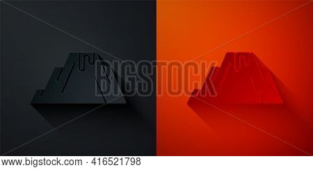 Paper Cut Volcano Eruption With Lava Icon Isolated On Black And Red Background. Paper Art Style. Vec
