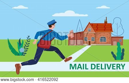 Postman Running With Bag Delivering Letter In Envelope For House To Address. Mailman In Uniform Carr
