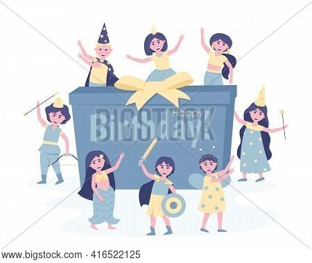 Children With A Gift In Carnival Costumes At Their Birthday Party. To Participate In The Holiday, Th