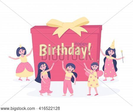 Girls With A Gift In Carnival Costumes For Their Birthday. To Participate In The Holiday, The Girlfr