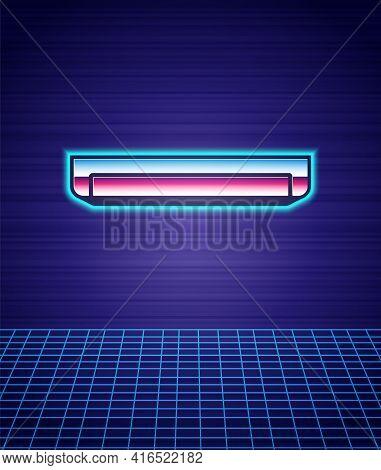 Retro Style Long Luminescence Fluorescent Energy Saving Lamp Icon Isolated Futuristic Landscape Back
