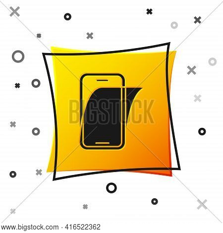 Black Glass Screen Protector For Smartphone Icon Isolated On White Background. Protective Film For G