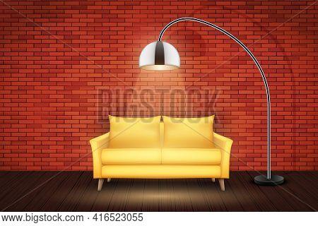 Interior Of Living Room. Sofa In Loft