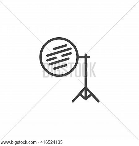 Photography Reflector On Tripod Line Icon. Linear Style Sign For Mobile Concept And Web Design. Ligh