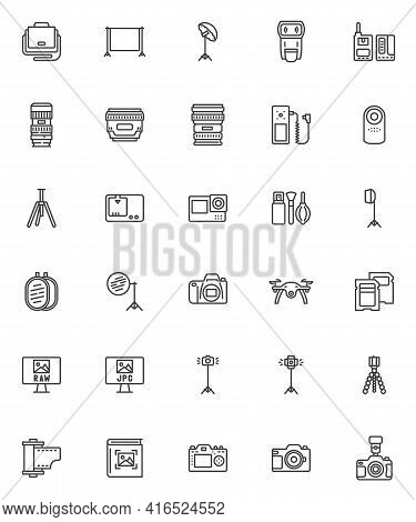 Photography Equipment Line Icons Set. Linear Style Symbols Collection, Outline Signs Pack. Photo Vid