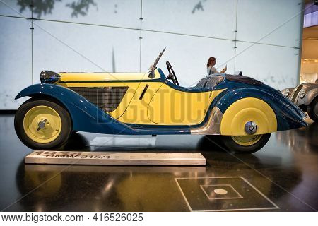 Munich, Germany - September 14, 2018: A Retro Bmw 1934 315/1 Classic Car In Bmw Museum.