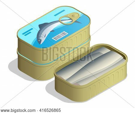Isometric Can Of Sardines. Canned Sardine Cans Stacked In A Pile, With An Open Isolated On White Bac