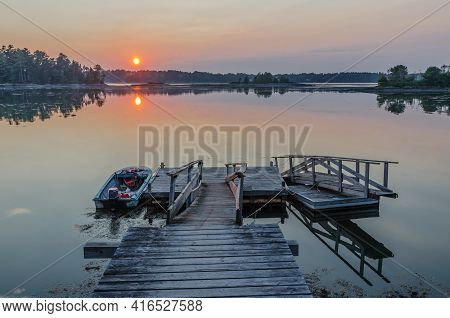 Jetty In Sunset, Orr's Island, Maine, New England, Usa, North America